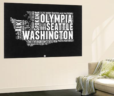 Washington Black and White Map-NaxArt-Wall Mural