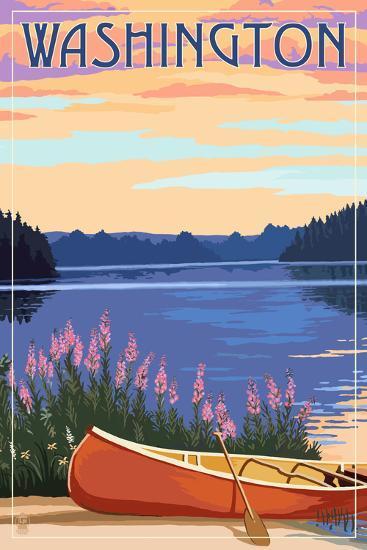 Washington - Canoe and Lake-Lantern Press-Art Print