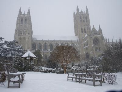 Washington Cathedral Wears a Coat of Fast Falling Snow-Stephen St^ John-Photographic Print