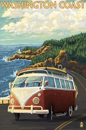 Washington Coast Drive with Lighthouse-Lantern Press-Wall Mural
