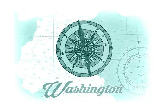 Washington - Compass - Teal - Coastal Icon-Lantern Press-Art Print