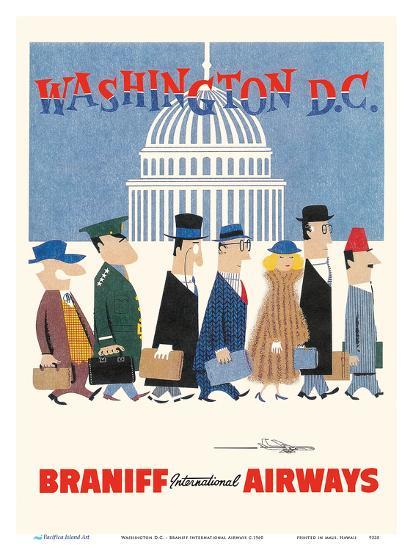Washington D.C. - Braniff International Airways-Unknown-Art Print