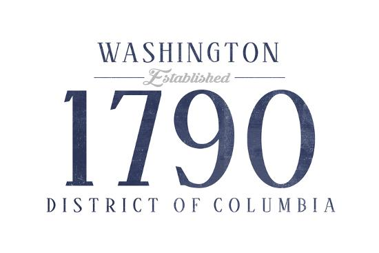 Washington D.C. - Established Date (Blue)-Lantern Press-Art Print