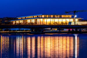 WASHINGTON D.C. -Kennedy Center Performing Arts with reflection on Potomac River - Washington D.C.