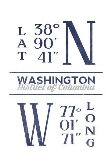Washington D.C. - Latitude and Longitude (Blue)-Lantern Press-Art Print