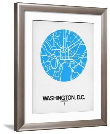 Washington, D.C. Street Map Blue-NaxArt-Framed Art Print