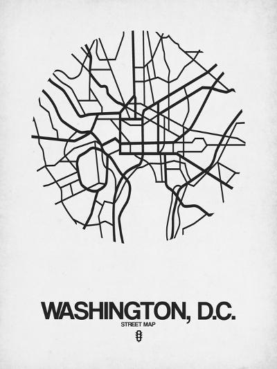 Washington, D.C. Street Map White-NaxArt-Art Print