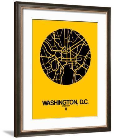 Washington, D.C. Street Map Yellow-NaxArt-Framed Art Print