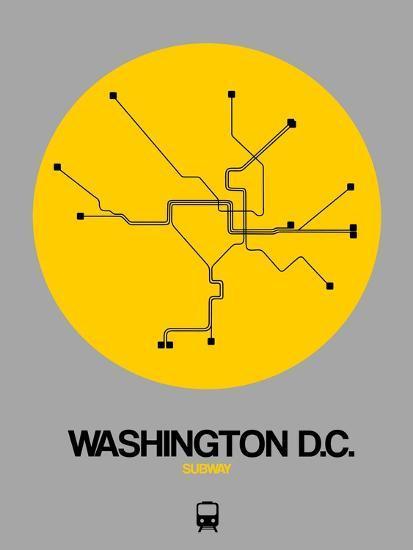 Washington D C Yellow Subway Map Art Print By Naxart Art Com