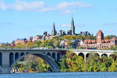 Washington Dc, a View from Georgetown and Key Bridge in Autumn-Orhan-Photographic Print