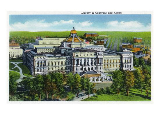 Washington DC, Exterior View of the Library of Congress and Annex Building-Lantern Press-Art Print