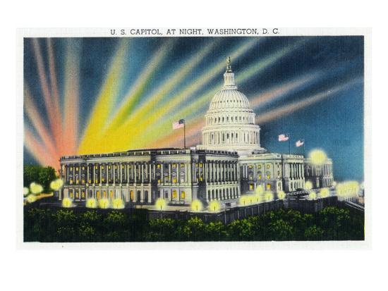 Washington DC, Exterior View of the US Capitol Building at Night-Lantern Press-Art Print