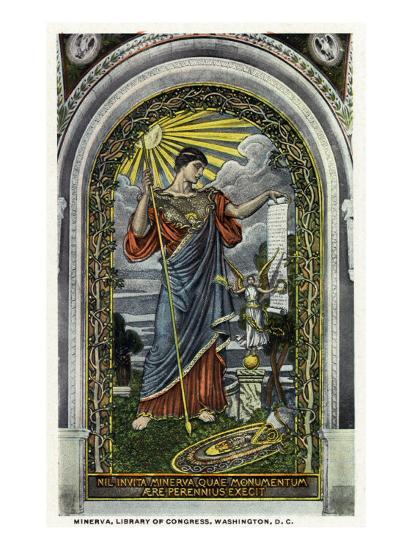Washington DC, Interior Views of the Library of Congress, Minerva of Peace Mosaic-Lantern Press-Art Print