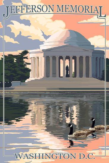 Washington, DC - Jefferson Memorial-Lantern Press-Art Print