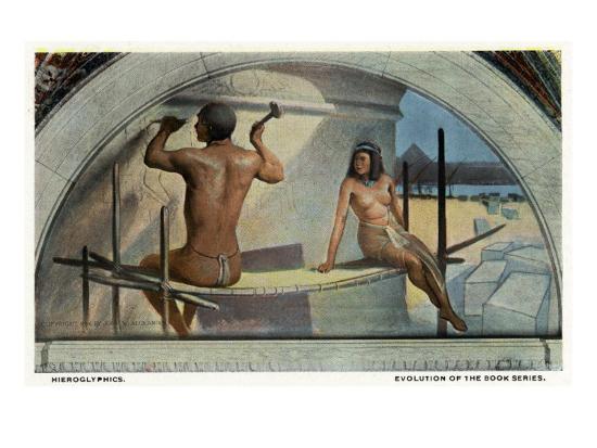 Washington DC, Library of Congress, Evolution of the Book Series View, Hieroglyphics-Lantern Press-Art Print