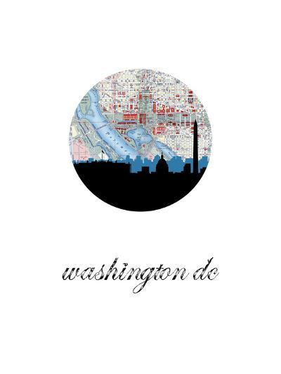 Washington Dc Map Skyline--Art Print