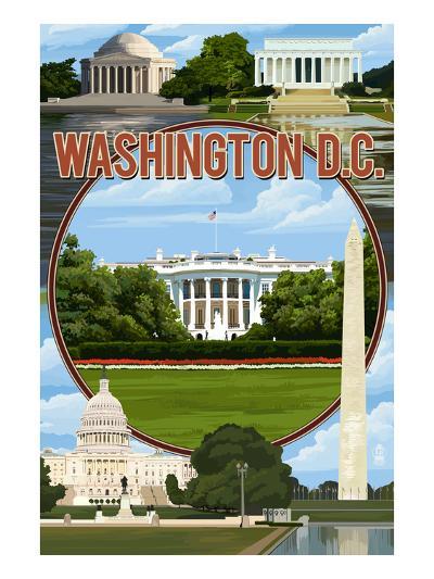 Washington DC - Montage-Lantern Press-Art Print
