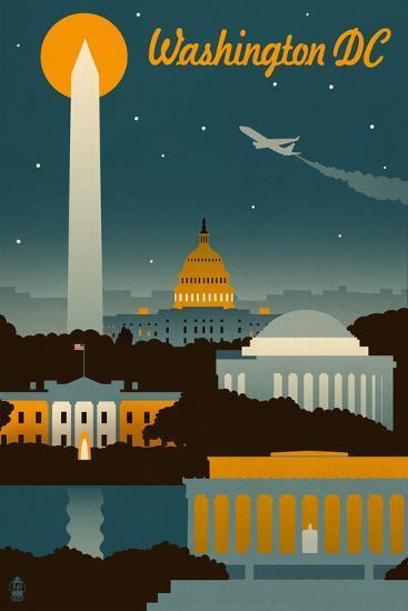 Washington, DC - Retro Skyline-Lantern Press-Art Print