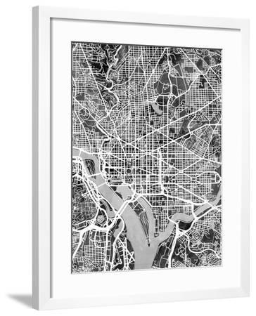 Washington DC Street Map-Michael Tompsett-Framed Art Print