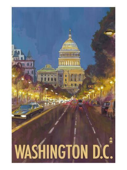 Washington DC, The Capitol Building-Lantern Press-Art Print