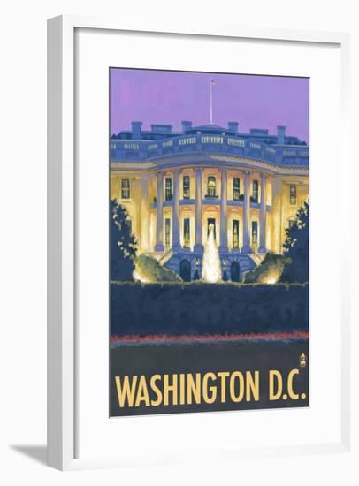 Washington DC, The White House-Lantern Press-Framed Art Print