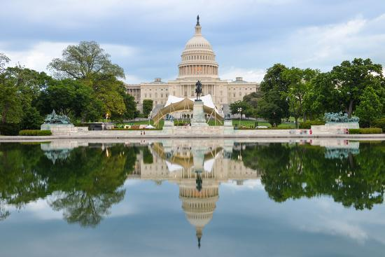 Washington Dc, US Capitol Building and Mirror Reflection on Water-Orhan-Photographic Print