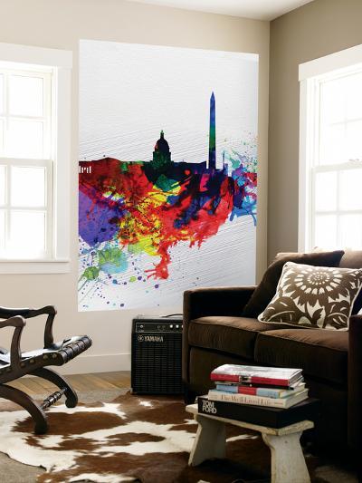 Washington DC Watercolor Skyline 1-NaxArt-Wall Mural