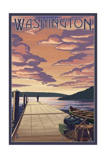 Washington - Dock Scene and Lake-Lantern Press-Art Print