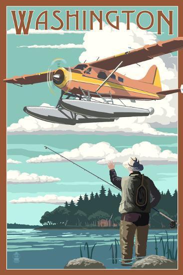 Washington - Float Plane and Fisherman-Lantern Press-Art Print