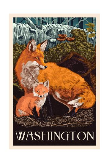 Washington - Fox and Kit - Letterpress-Lantern Press-Art Print