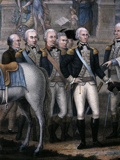 Washington, Hamilton, Rochambeau and General Lincoln, Detail from the British Surrendering--Giclee Print