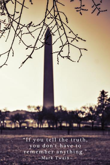 Washington Monument, Cross Processed Look in Washington, DC with Mark Twain Quote--Photo