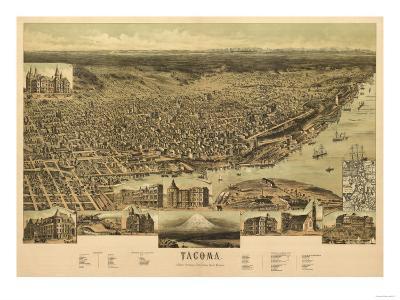 Washington - Panoramic Map of Tacoma-Lantern Press-Art Print