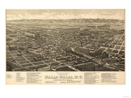 Washington - Panoramic Map of Walla Walla-Lantern Press-Art Print