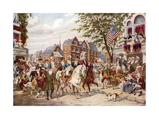 Washington's Entry into New York, 23 April 1789--Giclee Print