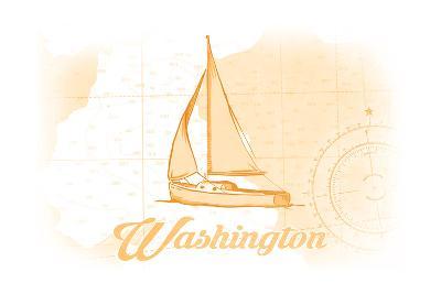 Washington - Sailboat - Yellow - Coastal Icon-Lantern Press-Art Print