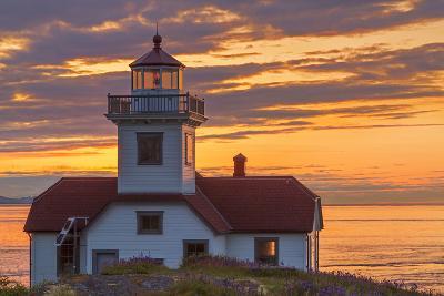 Washington, San Juan Islands. Patos Lighthouse and Camas at Sunset-Don Paulson-Photographic Print