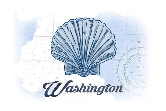 Washington - Scallop Shell - Blue - Coastal Icon-Lantern Press-Art Print