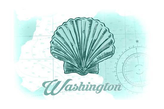 Washington - Scallop Shell - Teal - Coastal Icon-Lantern Press-Art Print