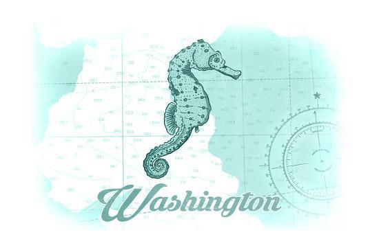 Washington - Seahorse - Teal - Coastal Icon-Lantern Press-Art Print