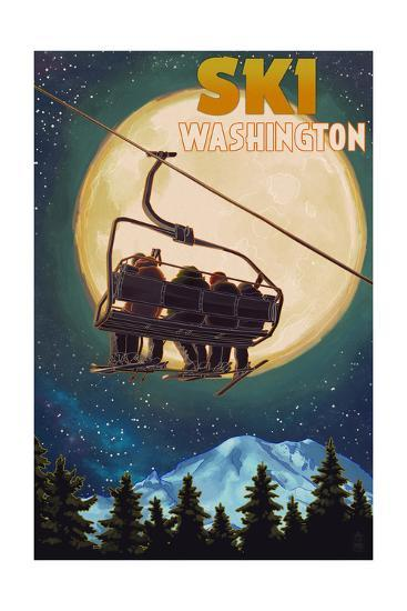 Washington - Ski Lift and Full Moon-Lantern Press-Art Print