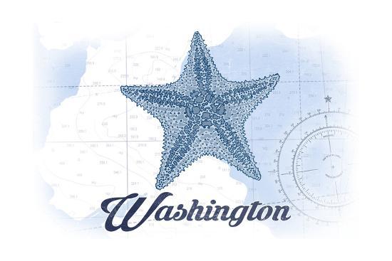 Washington - Starfish - Blue - Coastal Icon-Lantern Press-Art Print