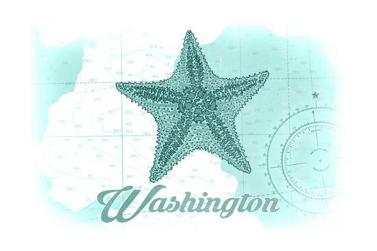 Washington - Starfish - Teal - Coastal Icon-Lantern Press-Art Print