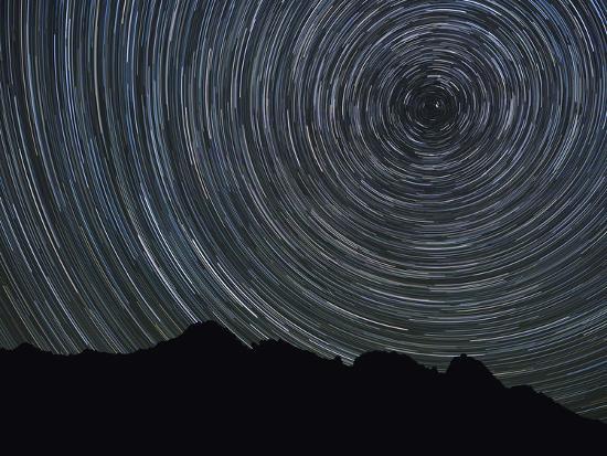 Washington State, Alpine Lakes Wilderness, Ingalls Pass, Star trails around Polaris-John & Lisa Merrill-Photographic Print