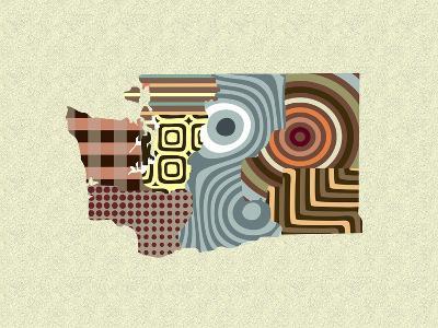 Washington State Map-Lanre Adefioye-Giclee Print