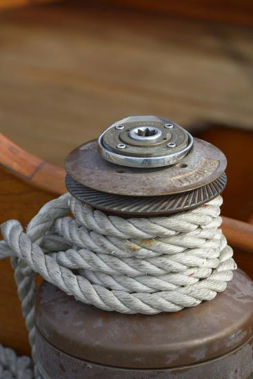 Washington State, Port Townsend. Barient Winch on an Old Wood Sailboat-Kevin Oke-Photographic Print