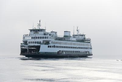 Washington State, Puget Sound. Ferry with Dense Fog Bank Limiting Visibility-Trish Drury-Photographic Print