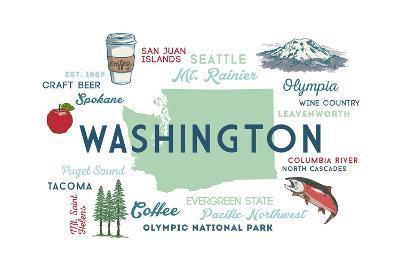 Washington - Typography and Icons-Lantern Press-Art Print