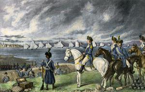 Washington Watching Evacuation of British Troops From Boston, 1776