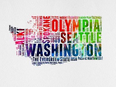 Washington Watercolor Word Cloud-NaxArt-Art Print